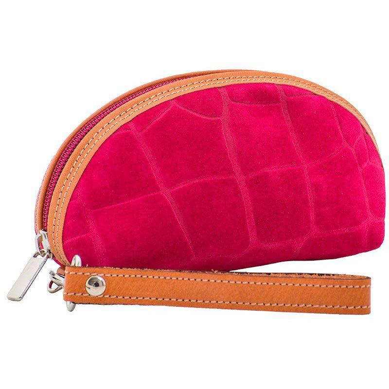 Ofeliat-Isabel-Wristlet-Fucsia-Crocodile-Leather-Handmade-Spain