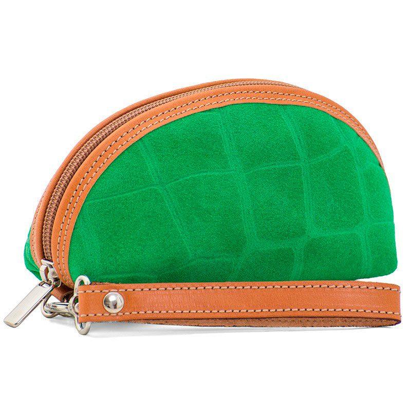 Ofeliat-Isabel-Wristlet-Green-Crocodile-Leather-Handmade-Spain