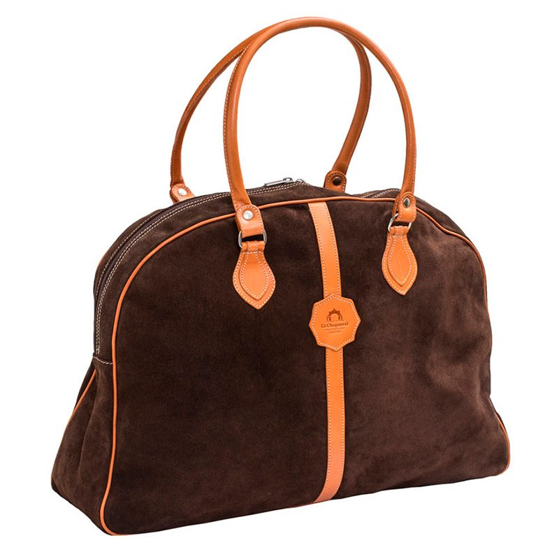Ofeliat-Laura-Ladies-Travel-Bag-Dark-Brown-Suede-Leather-Handmade-Spain