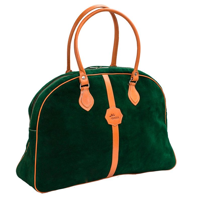 Ofeliat-Laura-Ladies-Travel-Bag-Dark-Green-Suede-Leather-Handmade-Spain