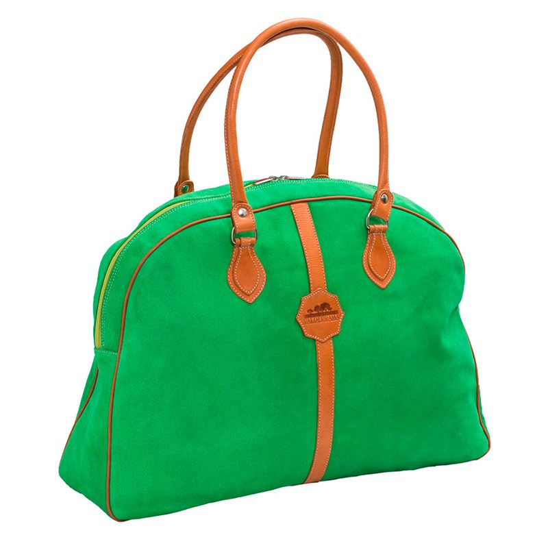Ofeliat-Laura-Ladies-Travel-Bag-Green-Suede-Leather-Handmade-Spain