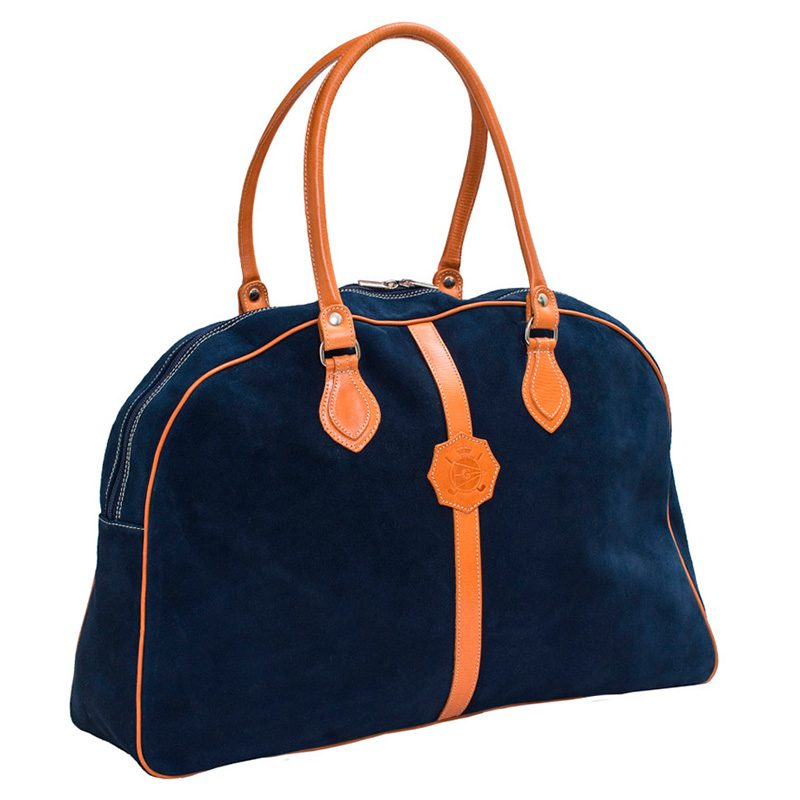 Ofeliat-Laura-Ladies-Travel-Bag-Navy-Suede-Leather-Handmade-Spain