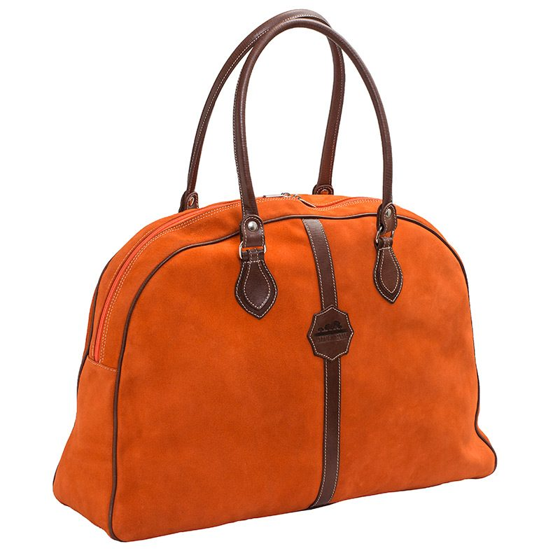 Ofeliat-Laura-Ladies-Travel-Bag-Oranje-Suede-Leather-Handmade-Spain