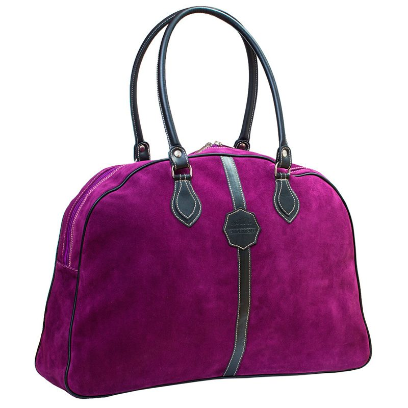 Ofeliat-Laura-Ladies-Travel-Bag-Purple-Suede-Leather-Handmade-Spain