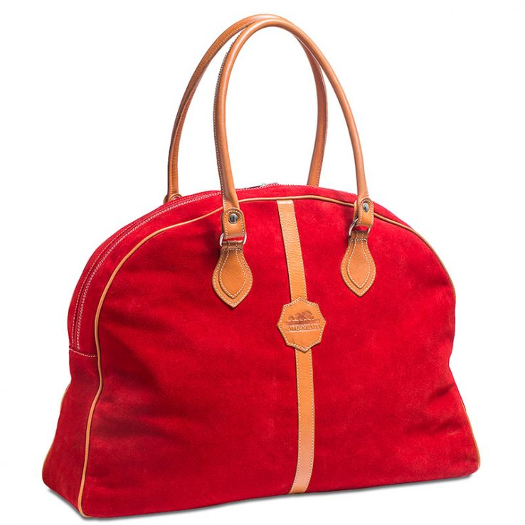 Ofeliat-Laura-Ladies-Travel-Bag-Red-Suede-Leather-Handmade-Spain