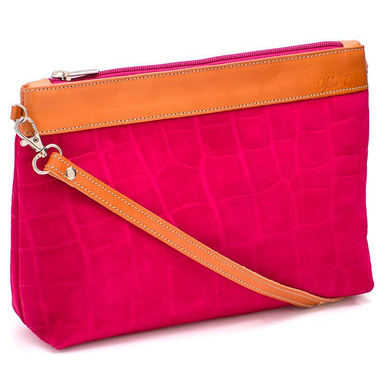 Ofeliat-Teresa-Zip-Clutch-Fucsia-Crocodile-Leather-Handmade-Spain