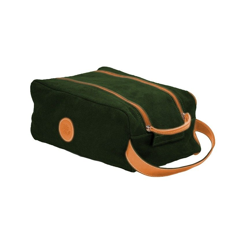 Ofelia T Barcelona Shoe Bag Dark Green Leather Handmade Spain
