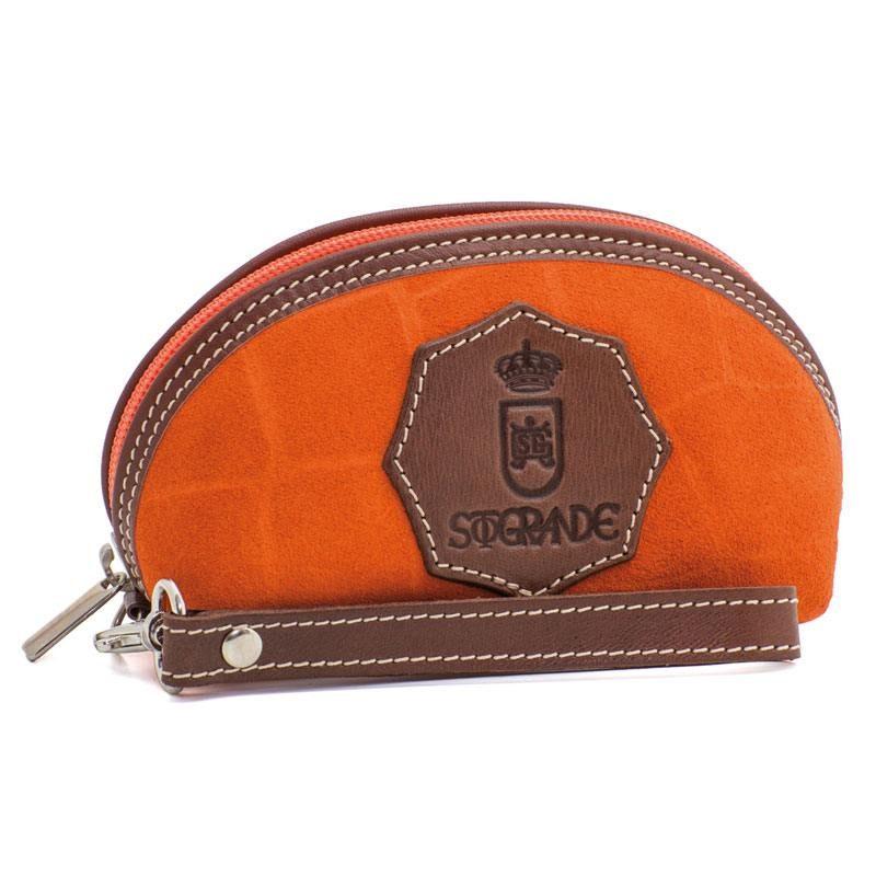 Ofelia T Isabel Wristlet Orange Crocodile Leather Handmade Spain