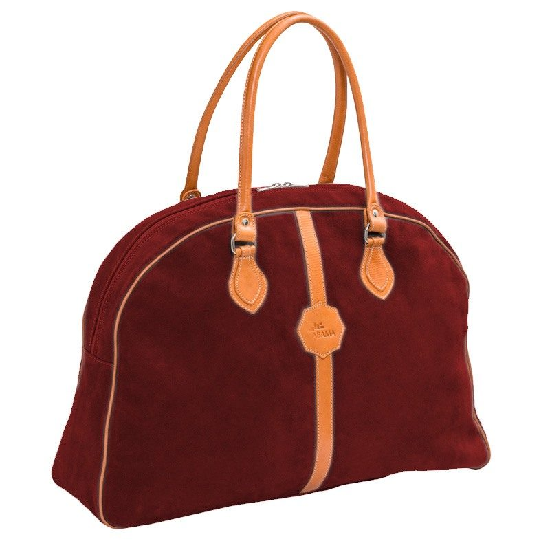 Ofelia T Laura Ladies Travel Bag Bordeaux Suede Leather Handmade Spain