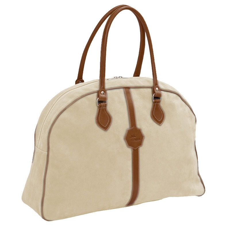 Ofelia T Laura Ladies Travel Bag Natural Suede Leather Handmade Spain