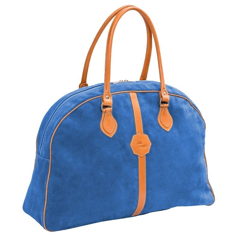 Ofelia T Laura Ladies Travel Bag Royal Suede Leather Handmade Spain