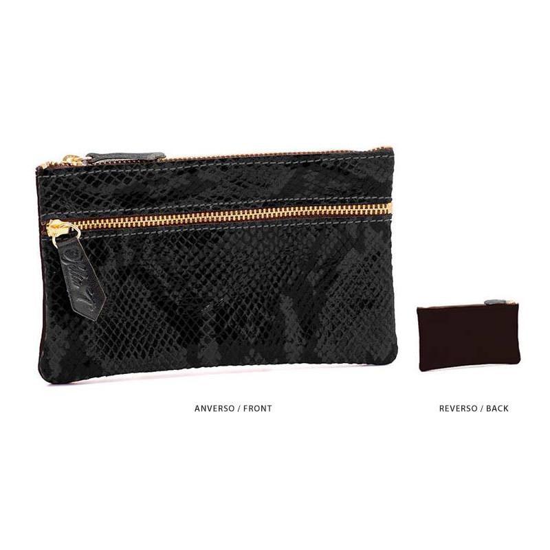 Ofelia T Maria Mini Clutch Black Boa Suede Leather Handmade Spain