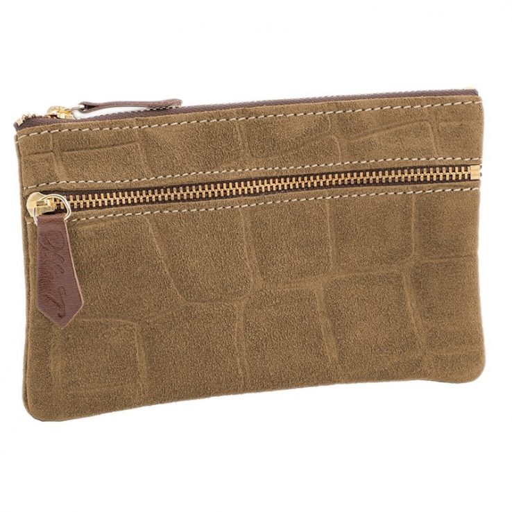 Ofelia T Maria Mini Clutch Brown Crocodile Leather Handmade Spain