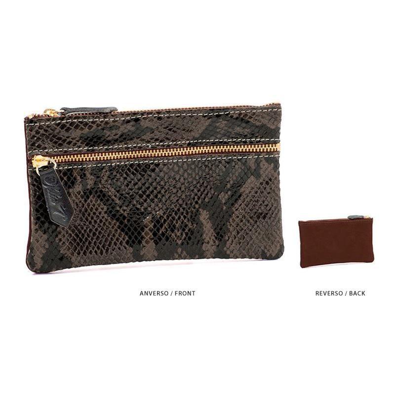 Ofelia T Maria Mini Clutch Dark Brown Boa Suede Leather Handmade Spain