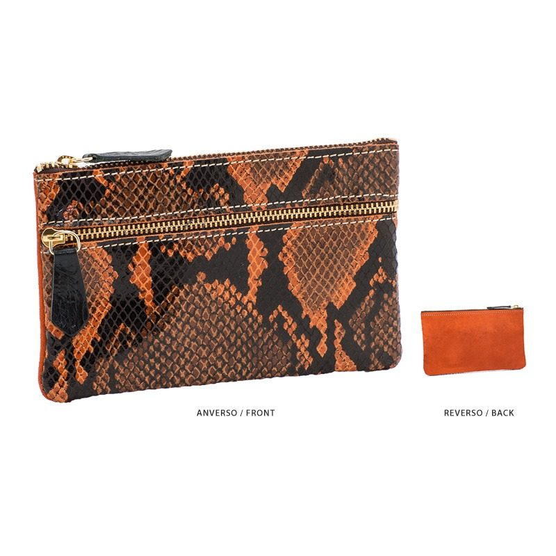 Ofelia T Maria Mini Clutch Orange Boa Suede Leather Handmade Spain