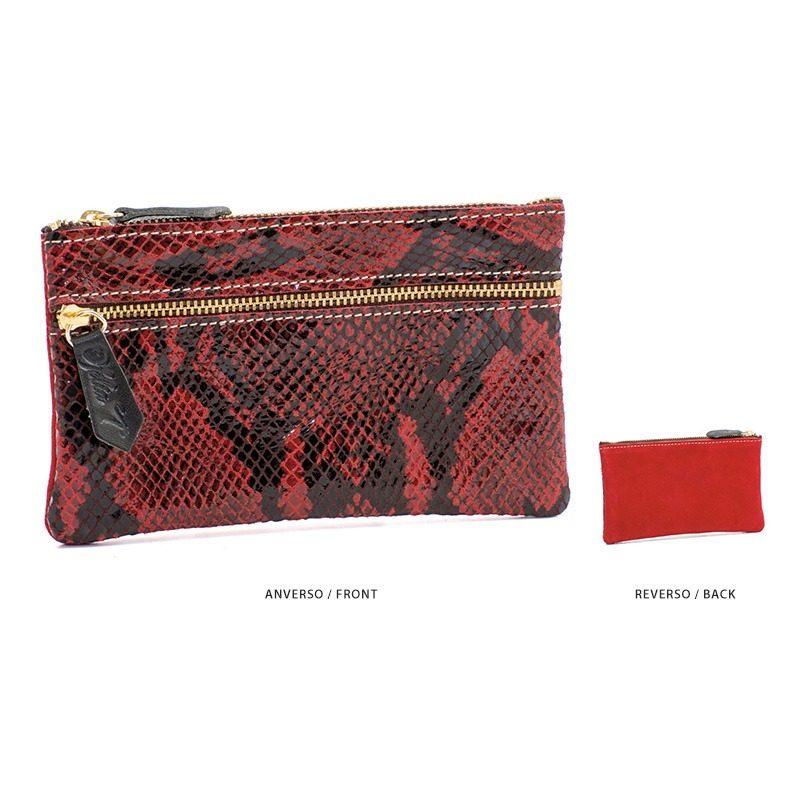 Ofelia T Maria Mini Clutch Red Boa Suede Leather Handmade Spain