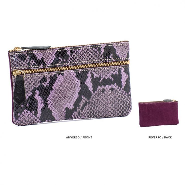 Ofelia T Maria Mini Clutch Violet Boa Suede Leather Handmade Spain