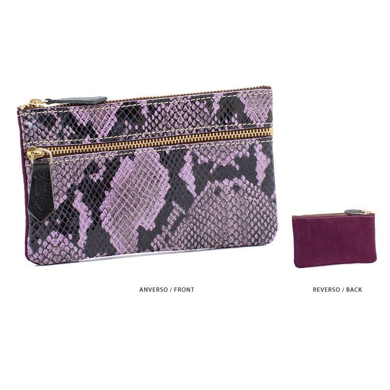 Ofelia T Maria Mini Clutch Violet Boa Suede Leather Handmade Spain