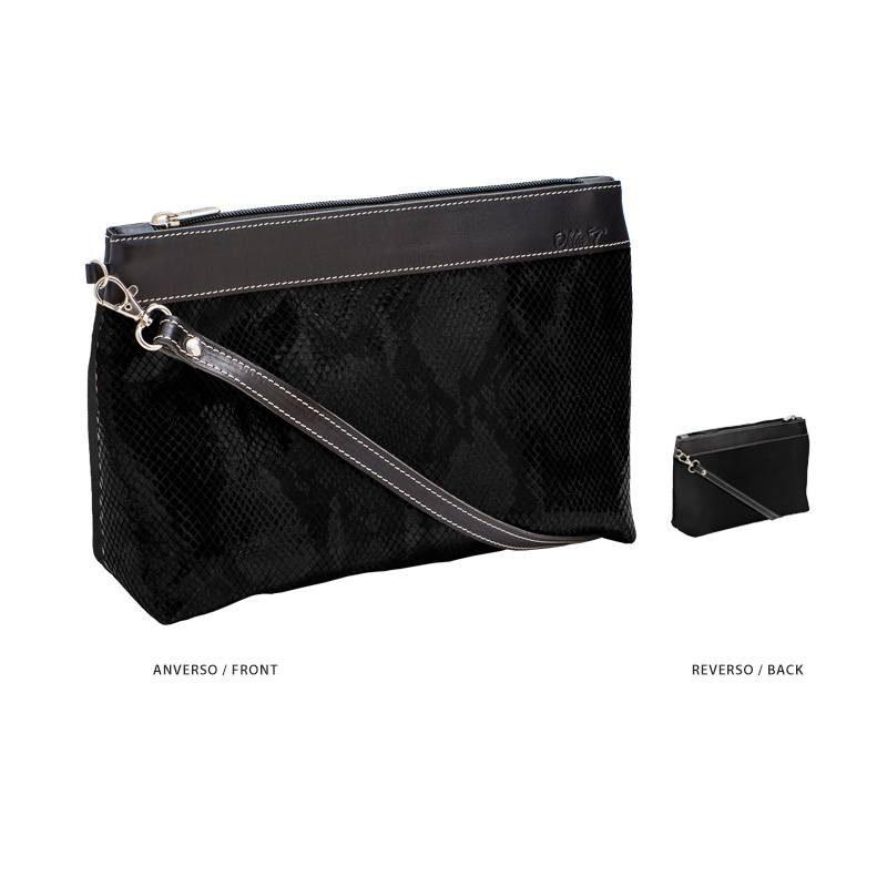 Ofelia T Rosa Shoulder Bag Black Boa Leather Handmade Spain