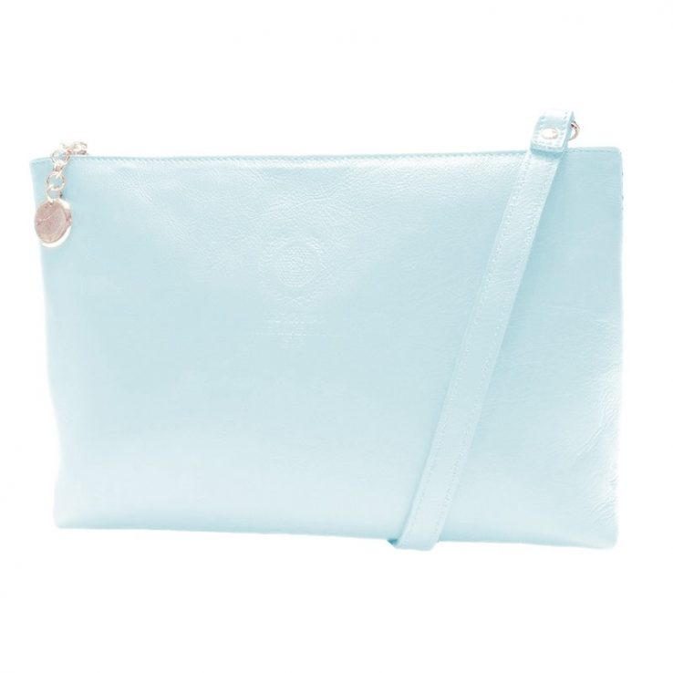 Ofelia T Rosa Shoulder Bag Light Blue Leather Handmade Spain