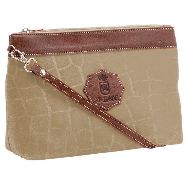 Ofelia T Rosa Shoulder Bag Natural Crocodile Leather Handmade Spain