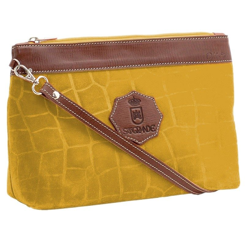 Ofelia T Rosa Shoulder Bag Yellow Crocodile Leather Handmade Spain