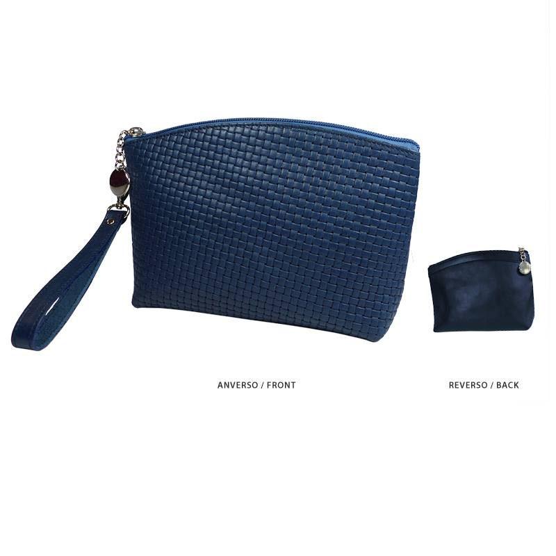 Ofelia T Teresa Zip Clutch Blue Braided Leather Handmade Spain
