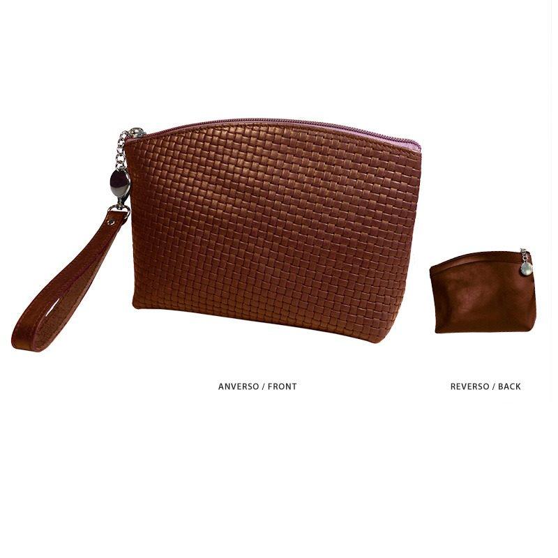 Ofelia T Teresa Zip Clutch Brown Braided Leather Handmade Spain