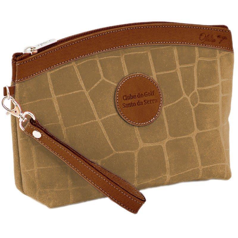 Ofelia T Teresa Zip Clutch Brown Crocodile Leather Handmade Spain