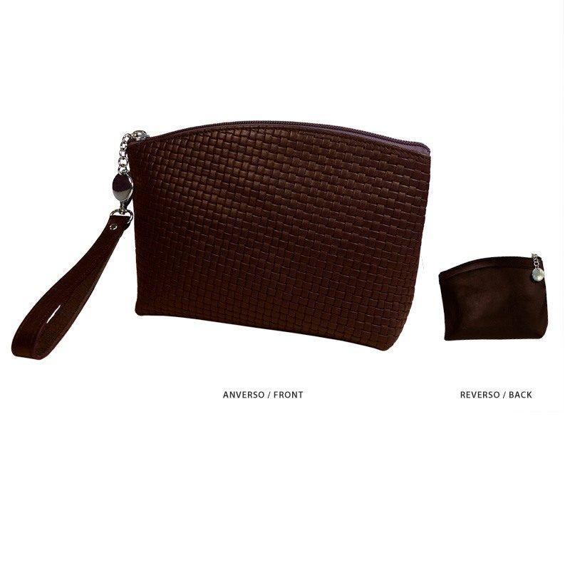 Ofelia T Teresa Zip Clutch Dark Brown Leather Handmade Spain