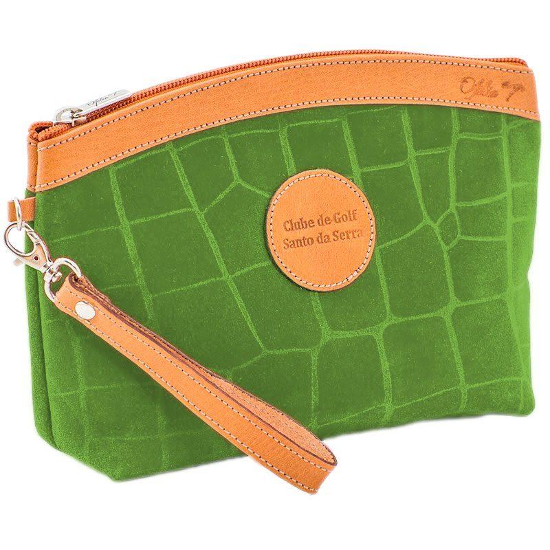 Ofelia T Teresa Zip Clutch Green Crocodile Leather Handmade Spain