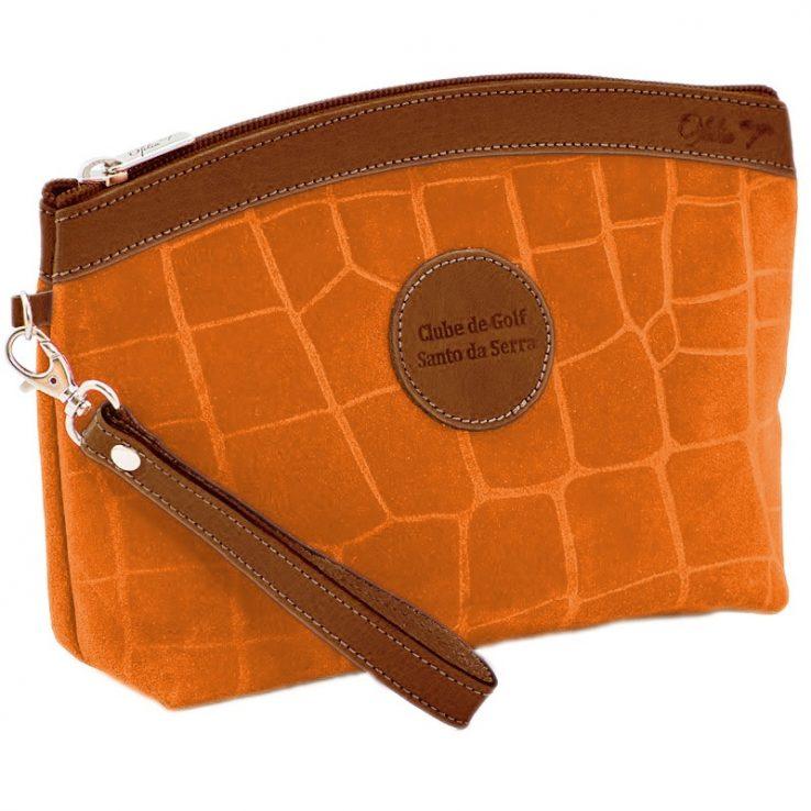 Ofelia T Teresa Zip Clutch Orange Crocodile Leather Handmade Spain