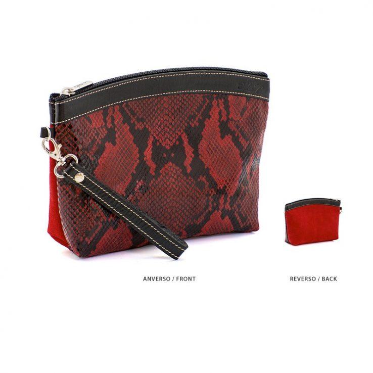 Ofelia T Teresa Zip Clutch Red Boa Suede Leather Handmade Spain