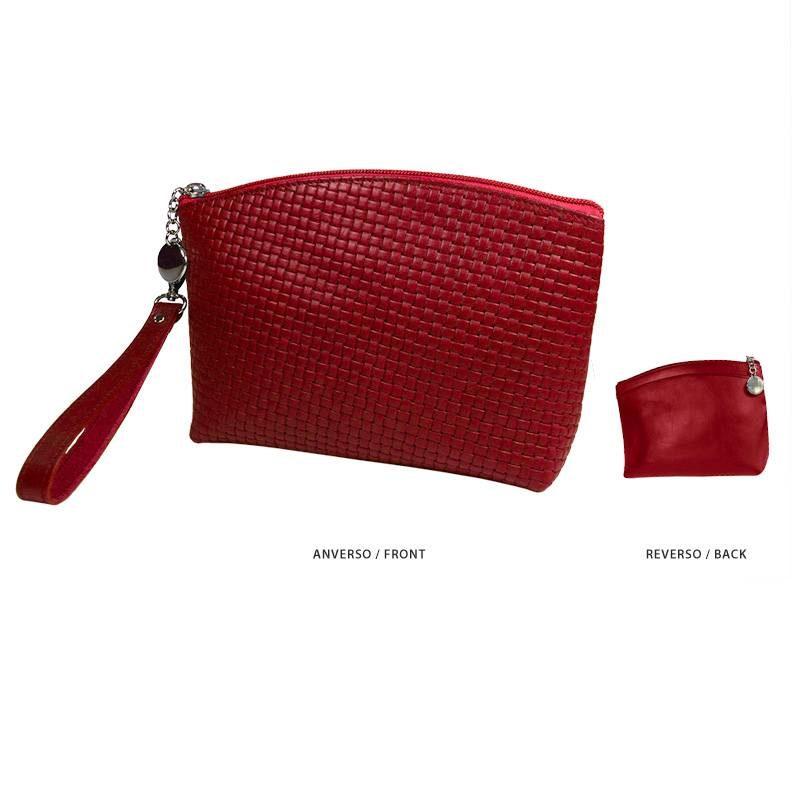Ofelia T Teresa Zip Clutch Red Braided Leather Handmade Spain