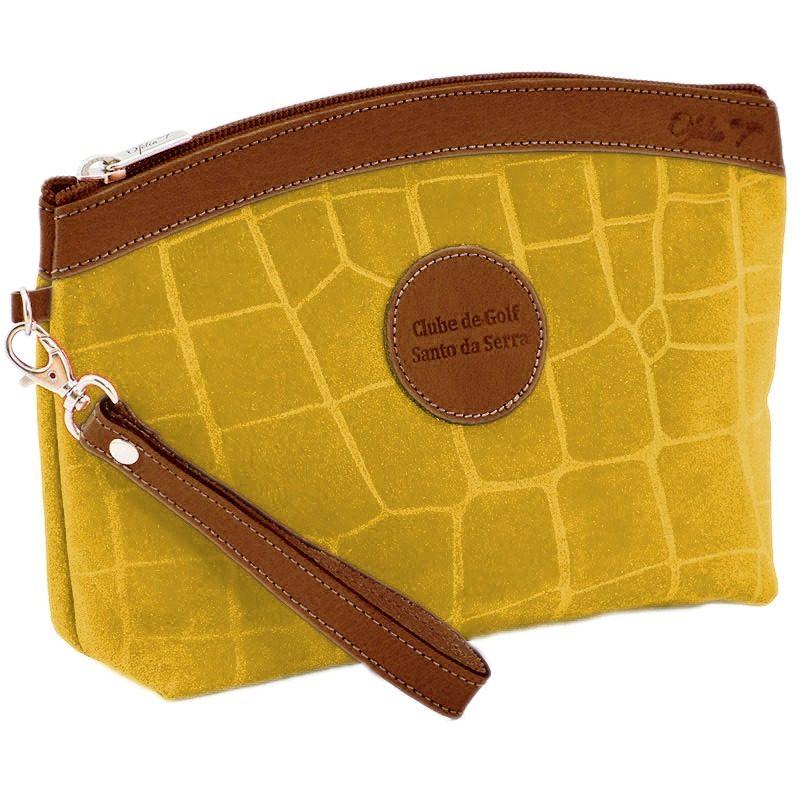 Ofelia T Teresa Zip Clutch Yellow Crocodile Leather Handmade Spain